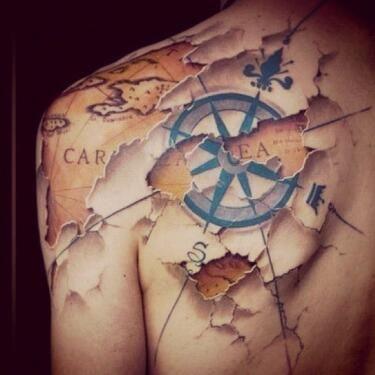 Amazing pirate map/ compass tattoo tweeted by Shu @shhshu