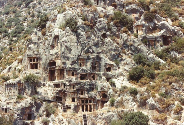 Lycian Rock Tombs in Turkey.  Dalian near Fethiye.   Atlas Obscura