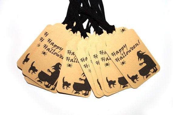 7 Halloween Tags | Witch tag | Happy Halloween tag | Back cat tag | Halloween labels | Spider labels | Halloween decoration