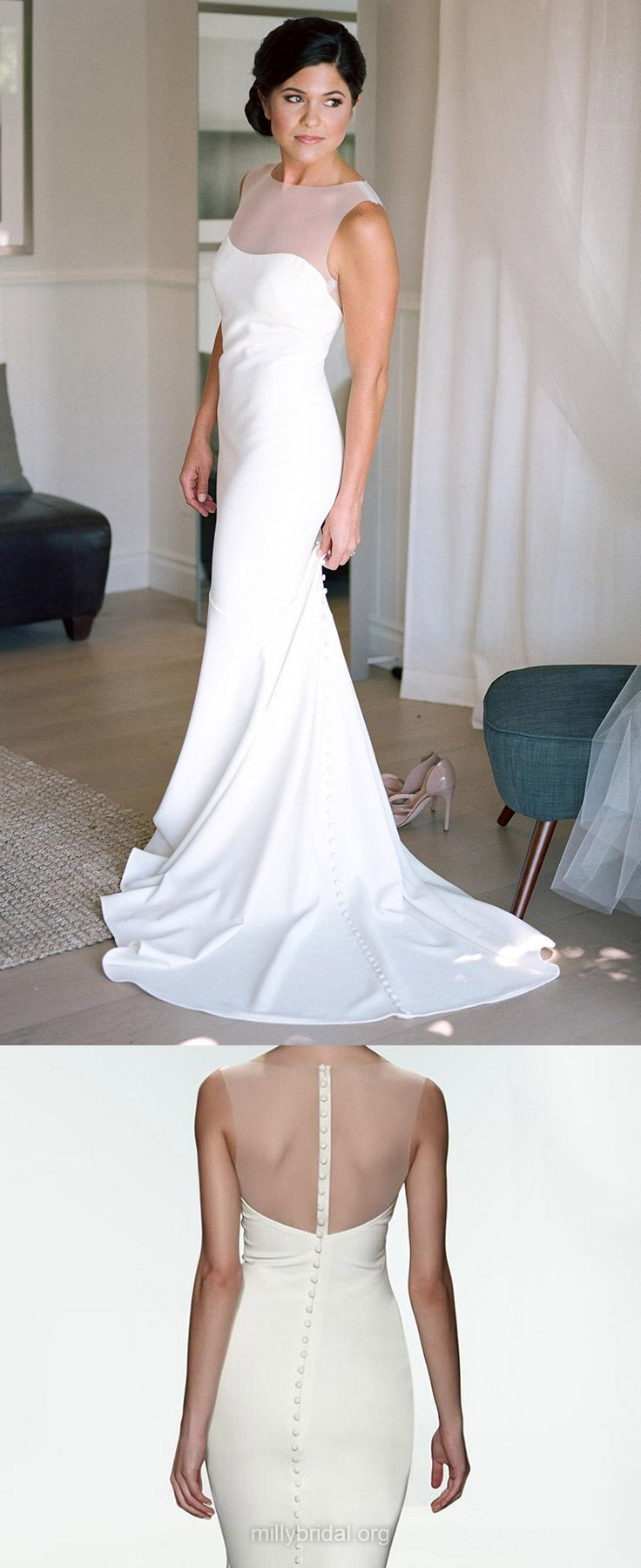 Simple Wedding Dresses Sheath/Column, Scoop Neck Bridal Dresses Tulle, Silk-like Satin Wedding Dress Ruffles