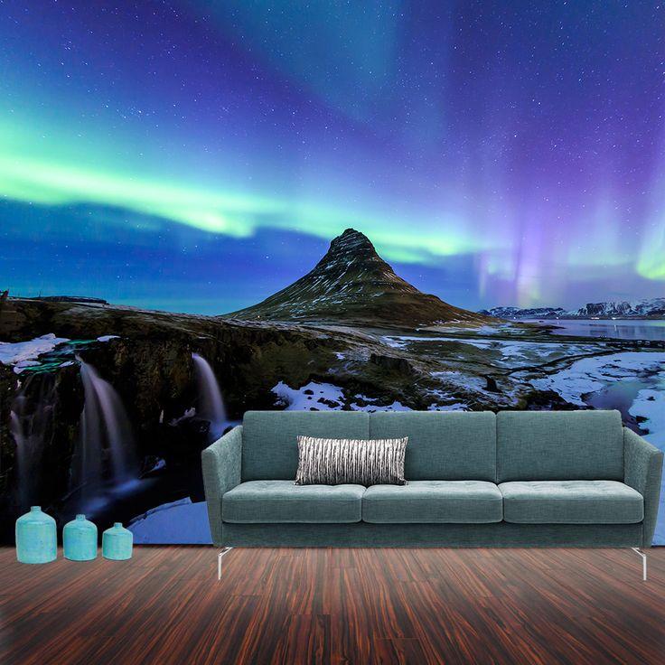 Fotomural Aurora Boreal, Las mágicas auroras boreales de Islandia, te provocarán quedarte contemplando anonadado el cielo brillar y bailar en una inmensidad de luces de colores. A tan solo $69.000 el metro cuadrado. #fotomurales #naturaleza #auroraboreal #islandia