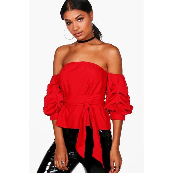 Boohoo Samantha Tie Waist Ruched Sleeve Bardot Top ($35) ❤ liked on Polyvore featuring tops, off shoulder tops, polka dot crop top, red off shoulder top, flat top and cami top