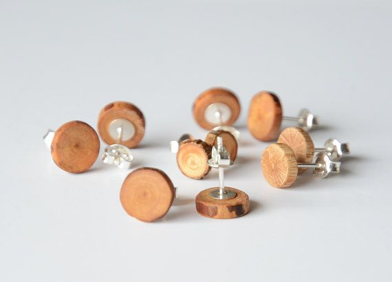 Minimalist and raw mens earring wood post earring by MyPieceOfWood, $11.00