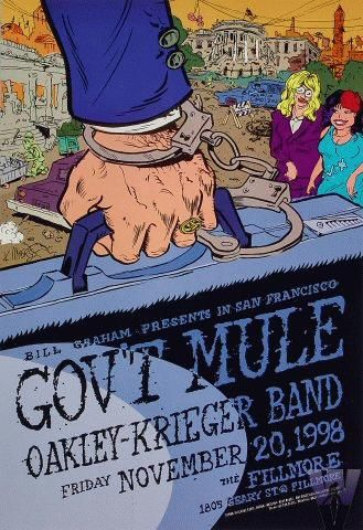 """Original concert poster for Gov't Mule at the Fillmore in San Francisco, CA. 13""""x19"""" on card stock. Art by Kent Myers. F350. 11-20-98"""