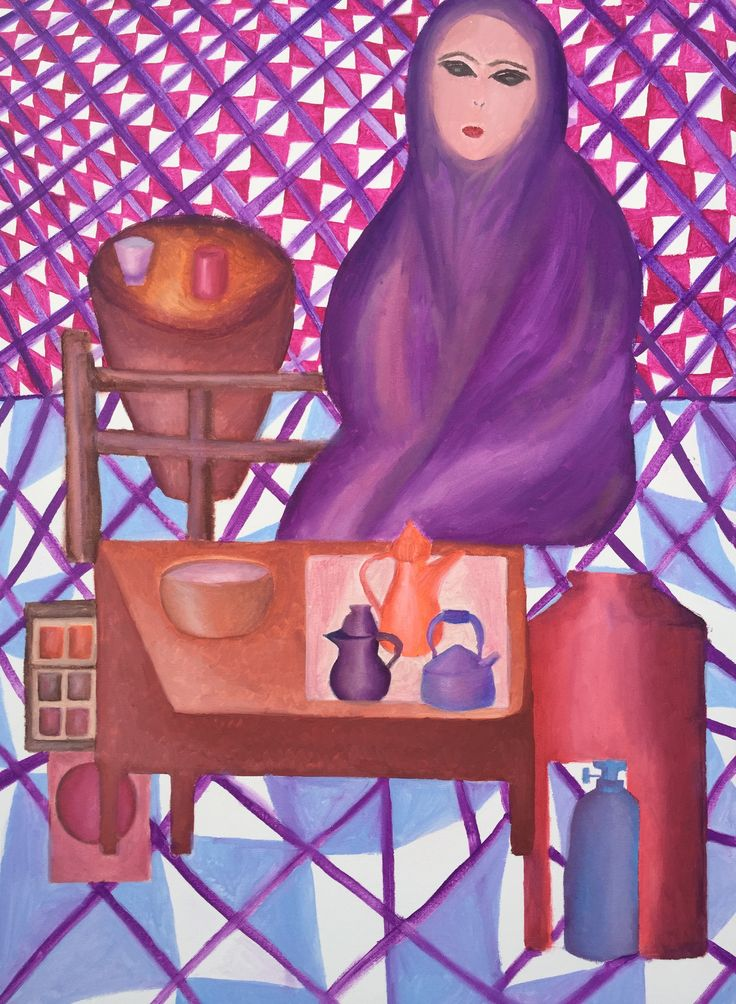 Woman Preparing Tea. Oil on canvas. By Yasmine Dabbous.
