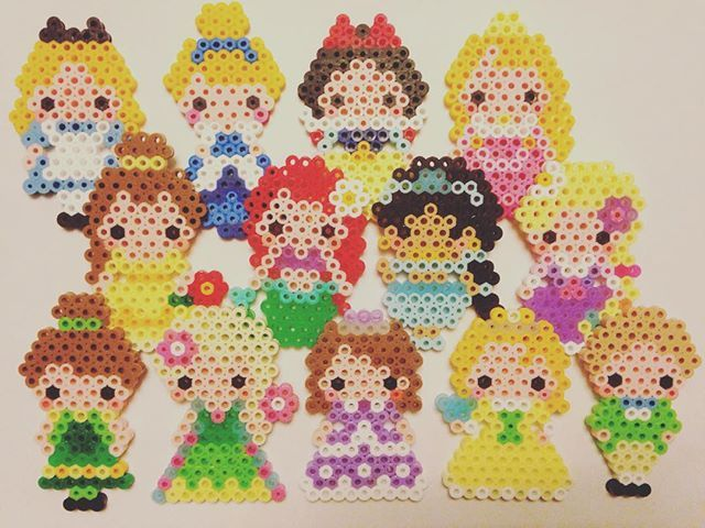 Disney Princess perler beads by e_rika753