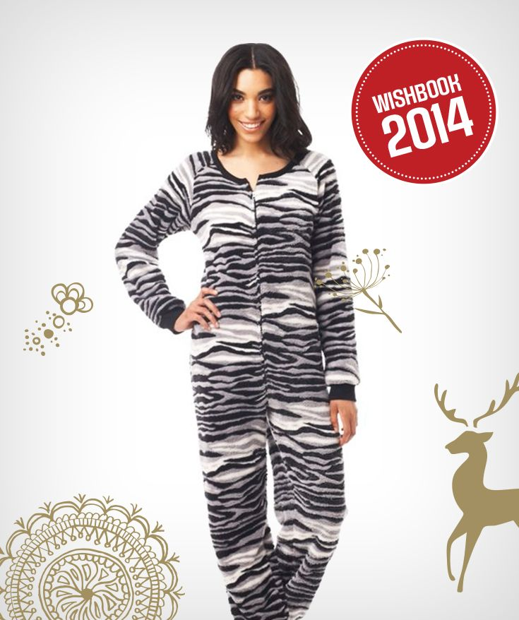 Keep warm and cozy this holiday season in a zebra print cuffed onesie