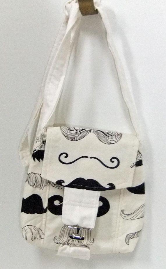 Small Messenger Bag - mustache - cute trendy print - crossover purse