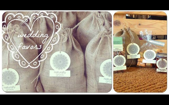 Wedding favors / Burlap pouch with Oil cookies, Thyme honey, Aegina pistachio nut