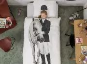 Equestrian theme horse graphic kid bedding by Snurk