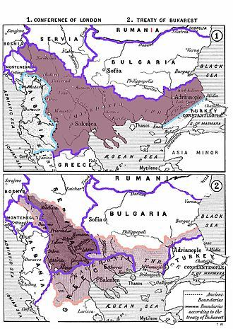 The division of the region of Macedonia after the Balkan Wars according to the Treaty of Bucharest