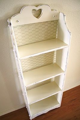 Chicken Wire Bookcase. This would be very cute in that country kitchen for the cookbooks.