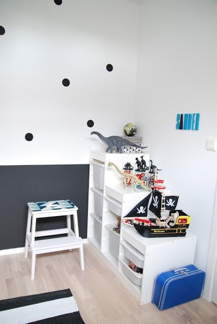 black dots on a white wall
