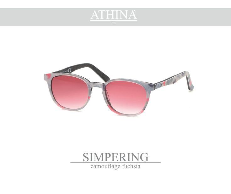 Mod. SIM1414G03 light and trendy-shaped in pure acetate of cellulose with polished camouflage fuchsia frame and gradient pink lenses.