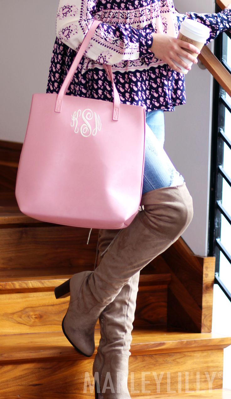 Have them blushin' with this Monogrammed Blush Shopper Tote from Marleylilly!