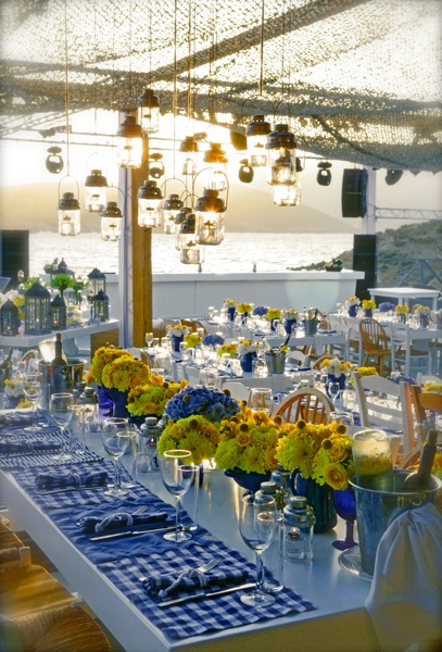 Yellow and blue floral arrangements!!