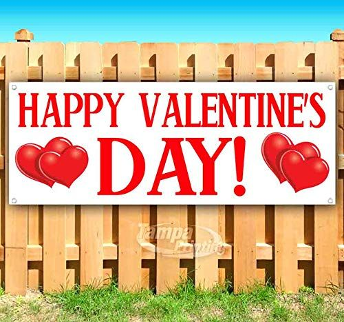 Happy Valentines Day 13 Oz Heavy Duty Vinyl Banner Sign With Metal Grommets New Store Advertising Flag Many Vinyl Banners Valentines Sign Outdoor Vinyl Banners