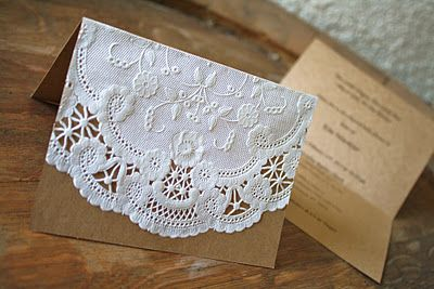 Paper Doily Invitations. Simple, inexpensive and cute!