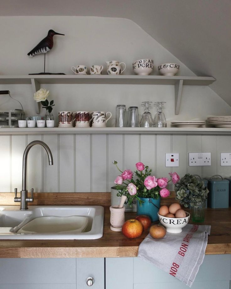Beautiful Open Shelving In The Kitchen At Hollyhock Cottage Walls Painted In Off  White , Tongue And Groove In Old White And Kitchen Units In Pigeon , All  Farrow And ... Amazing Design