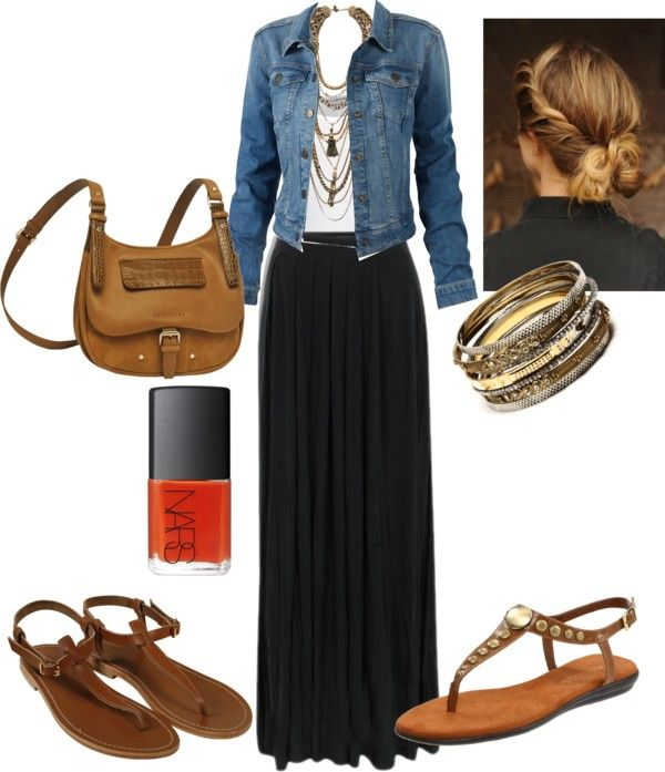 """Black Maxi Skirt"" by caitlinmcg ❤ liked on Polyvore. I'm not so big on skirts, but this looks nice :)"