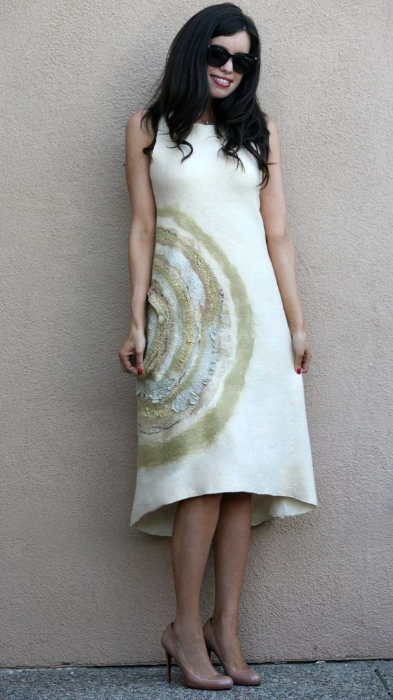 Felted off white cream gold sleeveless woman casual by GBDesign