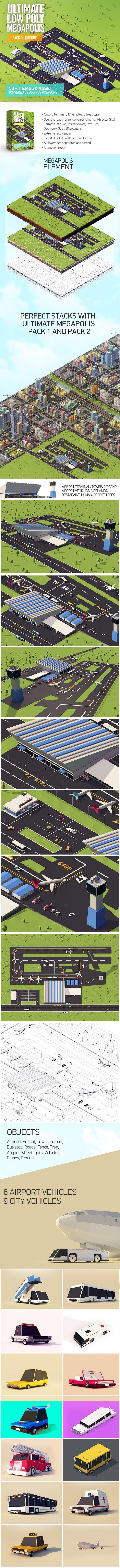 Ultimate Megapolis Pack 3 (Airport) 3D Models Design Template #cinema4d #3D #3dDesign Download here: https://3docean.net/item/ultimate-megapolis-pack-3-airport/18467482?ref=yinkira