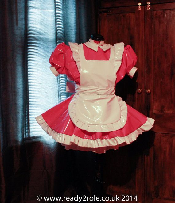 "Sissy Dress PVC Maid Dress ""The Alice"" Full of Frills and complete with Ruffled Apron"