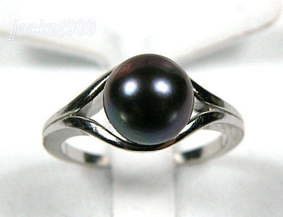 black pearl ring #etsy