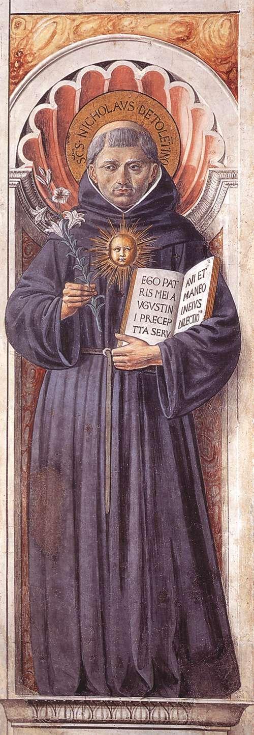 St Nicholas of Tolentino (on the pillar). 1464-65 Fresco Apsidal chapel, Sant'Agostino, San Gimignano.