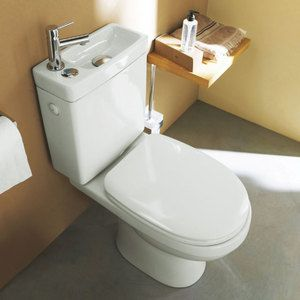 Cooke & Lewis Integrated Toilet WC and Hand Wash Basin Combo for Small Bathroom. So Cute, perfect for the water closet.