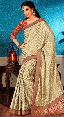 Classic Beige Woven Banararsi Silk Sari with Embroidered Border # Buy ladies Sarees Online # Cheap Sarees Online