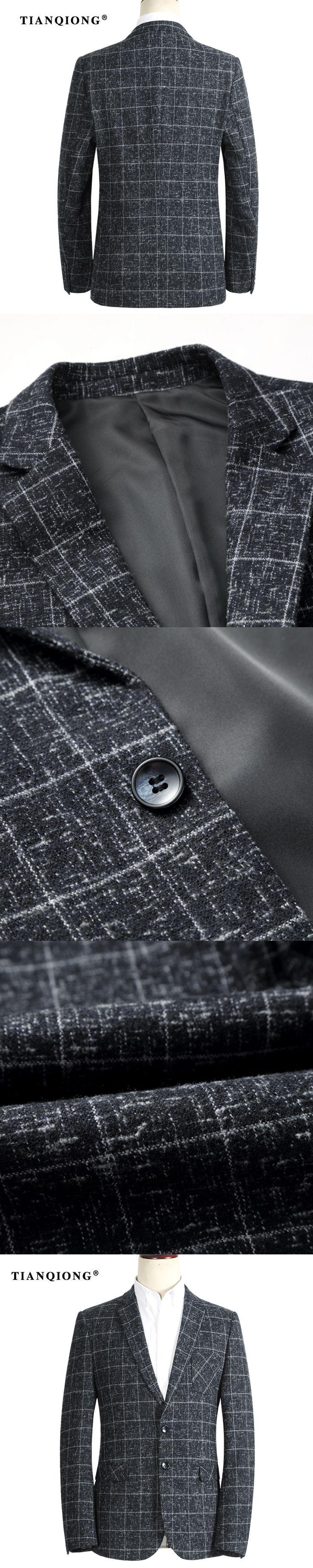 TIAN QIONG Winter Autumn Blazer Men 2017 Slim Fit Mens Plaid Blazer Fashion Blazers Luxury Gray Casual Business Suit Jacket