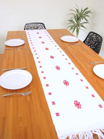 Handwoven Chenal Table Runner White Mexican Home Decor