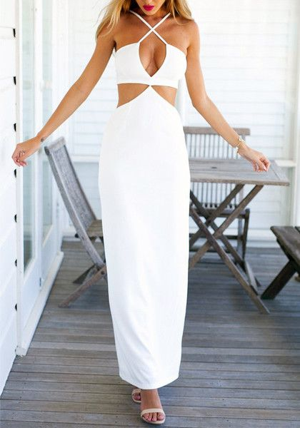 White long slip dress with plunging V neckline and sexy front crisscross strap detailing. Look dazzling by pairing this stunning long dress with bracelets and platforms. | Lookbook Store Dress Collection