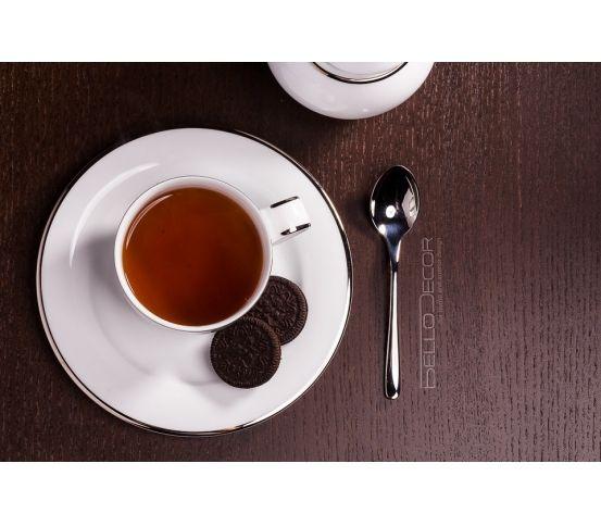 Villa Italia Hatty Platin - Serwis do herbaty, filiżanka, herbata, kawa, ciasteczko, podwieczorek