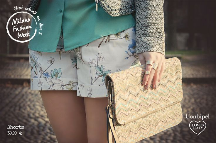 Look 5 mint, flowers, shorts, details, clutch, patterns. New collection, spring 2014.
