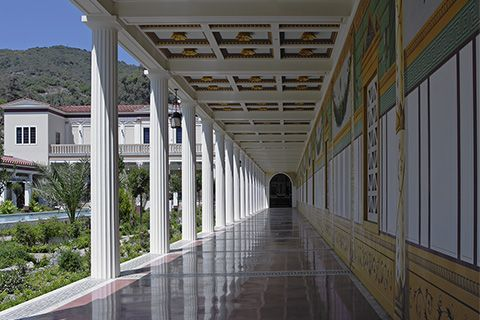 View of the Getty Museum from the Outer Peristyle at the Getty Villa.