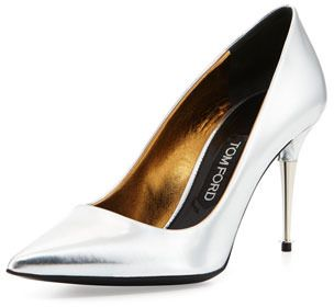 $890, Silver Leather Pumps: Tom Ford Low Heel Pointed Toe Metallic Pump Silver. Sold by Neiman Marcus. Click for more info: http://lookastic.com/women/shop_items/28525/redirect