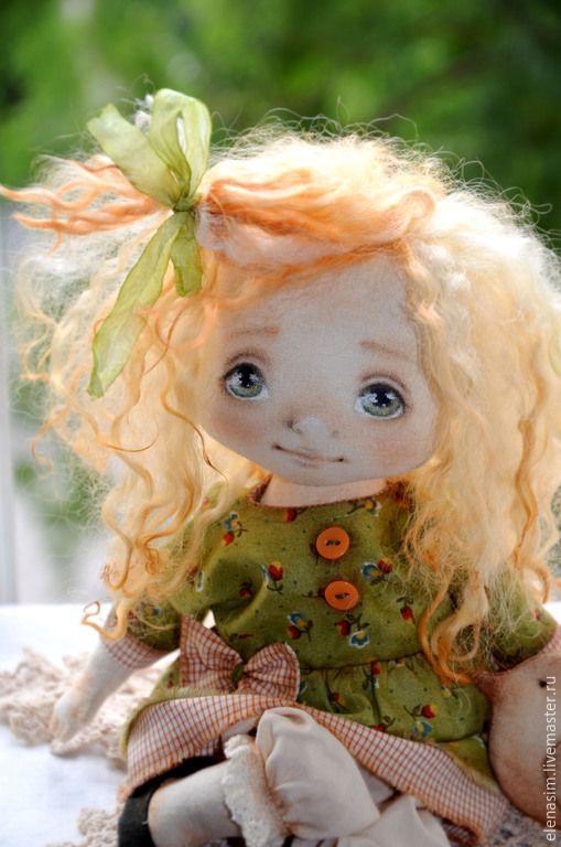 Коллекционные куклы ручной работы. Ярмарка Мастеров - ручная работа. Купить Лерочка. Handmade. Оливковый, текстильная игрушка, интерьерная кукла