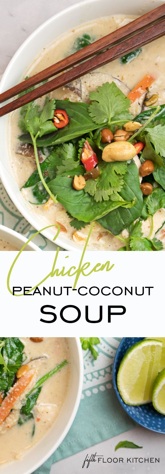 Looking for a incredible recipe for the weekend!? I've got this fantastic peanut and coconut soup with chicken, vermicelli and veggies… but careful, it's hot ️️️ #fifthfloorkitchen #spicy #coconut #peanut #soup