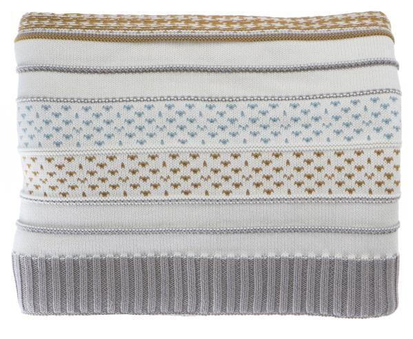 Pledd i bomull offwhite m/striper i grå, gul og grønn 125x150 cm
