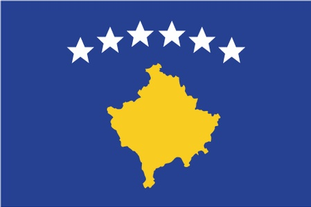 The Kosovo flag was adopted on 02/17/2008.  The flag is partly the result of an international design competition, which attracted almost a thousand entries.  The flag displays six white stars in an arc above a golden map of Kosovo on a blue field. They are officially meant to symbolize Kosovo's six major ethnic groups: Albanians, Serbs, Turks, Gorani, Roma and Bosniaks.