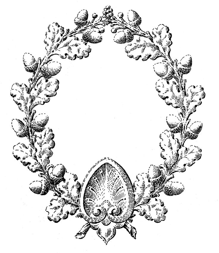 Vintage Fall Clip Art - Oak Leaf and Acorn Wreath - The Graphics Fairy.  Taupe and orange also.