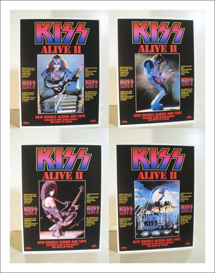 KISS Collectible Memorabilia - Set Of 4 KISS Alive II Album Promotional Stand-Up Displays Gene Simmons Paul Stanley Ace Frehley Peter Criss