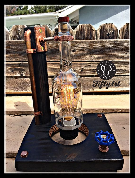 """Industrial Table Lamp """"Sazerac"""", outlet table lamp, steampunk lamp, reclaimed wood light, dimmer"""