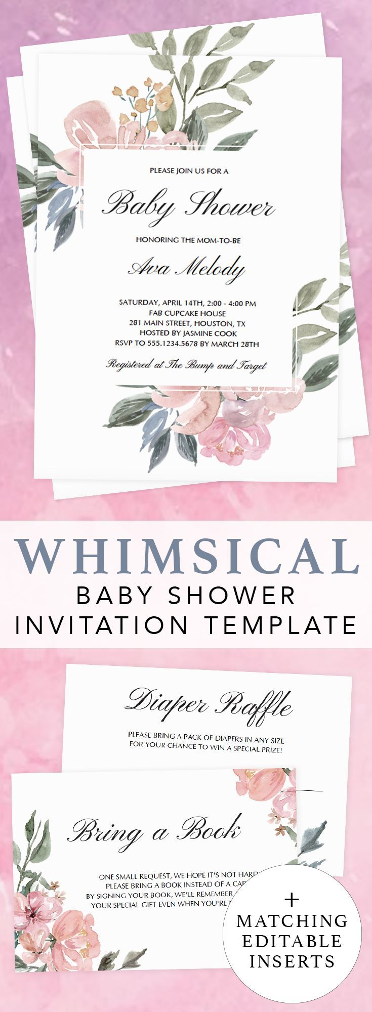 Whimsical baby shower ideas by LittleSizzle. Whimsical invitation template for girl baby shower. Click through to create your own printable whimsical floral baby shower invitations for a gender neutral shower. Floral baby shower invitation and matching editable bring a book request card and printable diaper raffle ticket. #babyshowerideas #babyshowerinvitations #template #DIY #whimsical #girl #genderneutral #floral