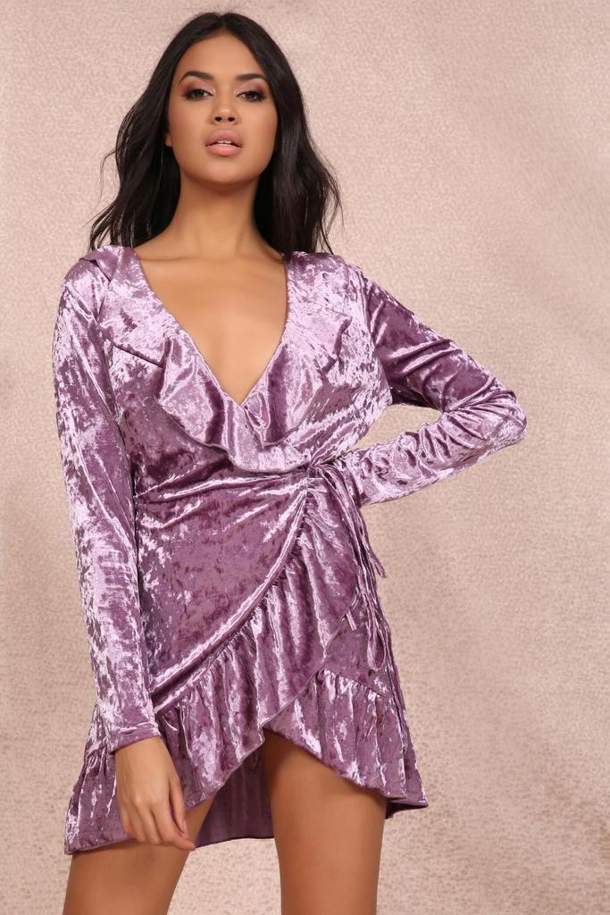 6c463cf229 Mauve Velvet Frill Detail Wrap Mini Dress