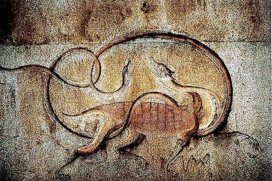 Engraving of Hyonmu (tortoise and snake), one of the four gods. Image source. - See more at: http://www.ancient-origins.net/ancient-places-asia/ancient-complex-koguryo-tombs-north-korea-001726#sthash.YV631bsF.dpuf