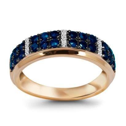 Złoty pierścionek z rubinami (11554R - 25107) - YES