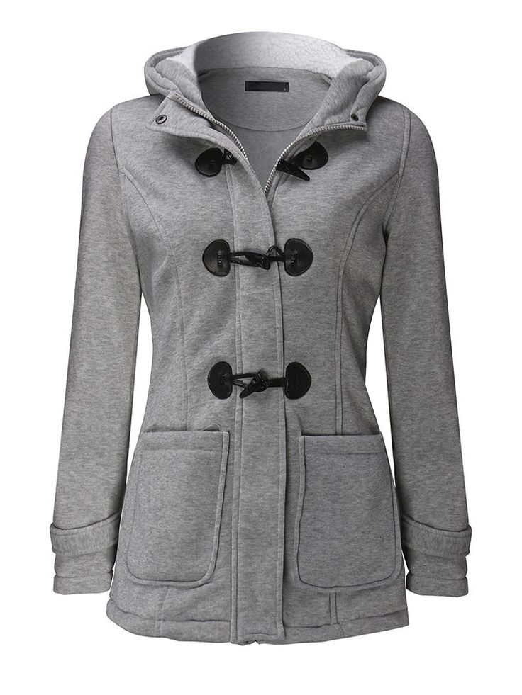Casual Women Long Sleeve Solid Color Hooded Horn Buttons Coat at Banggood  #women #fashion